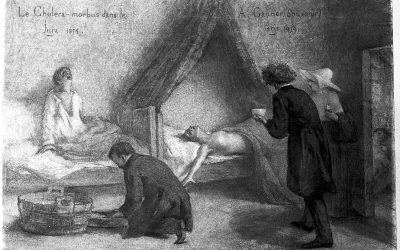L0012076 Patients suffering from cholera in the Jura during the 1854 Credit: Wellcome Library, London. Wellcome Images images@wellcome.ac.uk http://wellcomeimages.org Patients suffering from cholera in the Jura during the 1854 epidemic, with Dr Gachet attending them. Pencil drawing 1859 By: Amand-Désiré GautierPublished:  -   Copyrighted work available under Creative Commons Attribution only licence CC BY 4.0 http://creativecommons.org/licenses/by/4.0/